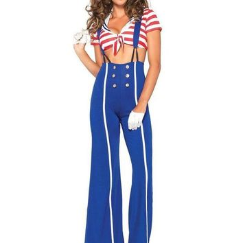 DCCKLP2 3PC.Ship Shape Sailor,crop top,flared pants w/suspenders,hat in BLUE/RED