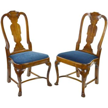 Pre-owned 18th Century Antique Queen Anne Chairs - A Pair