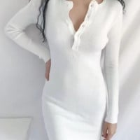 Autumn and winter new button-up dress tight-fitting bottoming knit bag hip skirt