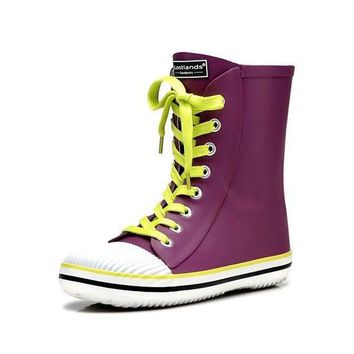 New Arrival High Quality Women Rubber Rain Boots Candy color Handsome Lace-up Waterpro