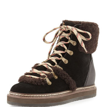 See by Chloe Eileen Suede & Shearling Wedge Bootie, Dark Brown/Black