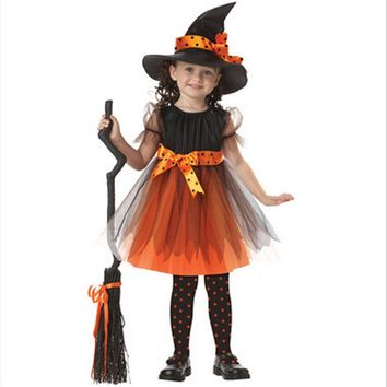 2017 New Arrival Halloween Party Children Kids Cosplay Witch Costume For Girls Halloween Costume Party Witch Dress With Hat #809