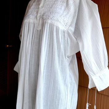 100% Hand Made and Embroidered White Blouse Top Peasant