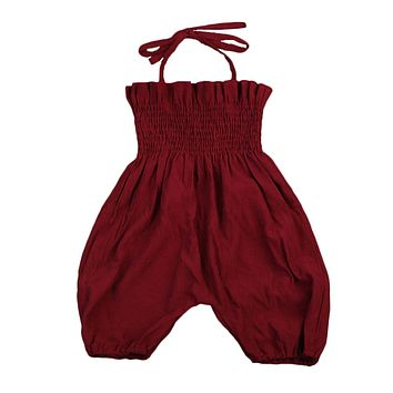Newborn Infant Baby Girls Wine Red Romper Lace Halter Jumpsuit Outfits Sun suit Clothes
