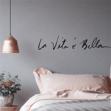 Italy Style Wall Stickers Creative Art DIY PVC Decorations Wall Decals Home Decors Wall sticker Life Is So Beautiful