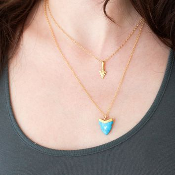Layered Necklaces Set - Blue Turquoise Tooth Pendant - Chevron Arrow Charm