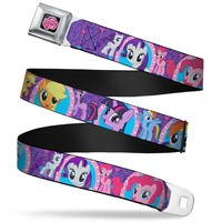 My Little Pony Logo Full Color Black Pink Posing Ponies W Mirrors Purple Seatbelt Belt Standard