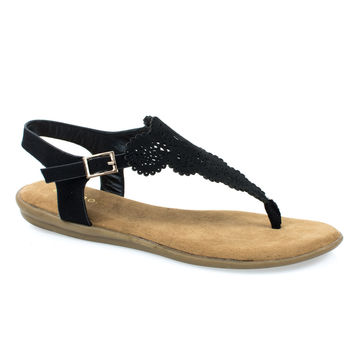 Tundra54S Black F-Suede by Bamboo, Black Suede Women's Flat Thong Sandal w Ankle Strap & Laser Cutout Floral