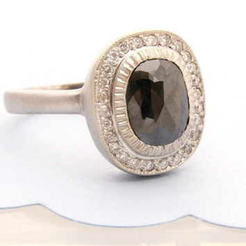 Rose Cut Black Diamond And 14K White Gold Ring by Tulajewelry