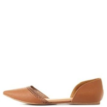 Cognac Scalloped Pointed Toe D'Orsay Flats by Charlotte Russe