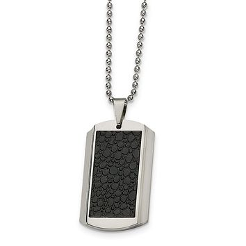 Men's Stainless Steel and Textured Texture Dog Tag Necklace