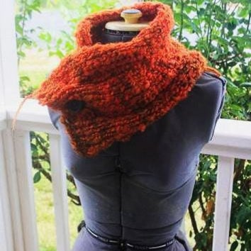 soft fluffy orange cowl / scarf