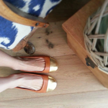 ZOE- Ballet Flats - Leather Shoes - 39 - Tan & Gold Leather. Available in different sizes