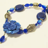 Blue Mother of Pearl Flower Pendant Necklace - Royal Blue, Statement Necklace, Handmade jewelry