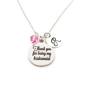 Thank You For Being My Bridesmaid Charm Personalized Initial Sterling Silver Necklace