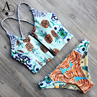 ABOUTTHEFIT Women Pineapple Print Front Zipper Sling Crop Top Corset Style Bikinis Set Sexy Brazilian Swimwear Double Sided