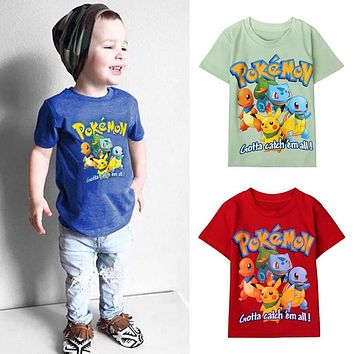 Summer cartoon children top  t shirts Pikachu Charmander kids boys clothing cotton Pocket Monster baby tees clothes DS40Kawaii Pokemon go  AT_89_9