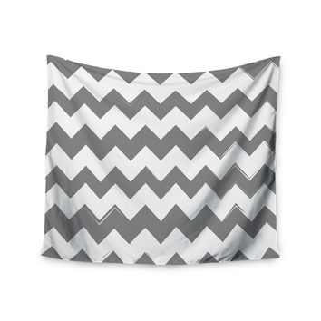 "KESS Original ""Candy Cane Gray"" Chevron Wall Tapestry"