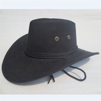 Men Women Fuax Leather Western Cowboy Hats Beach Sun Hat Outdoor Camping Cap
