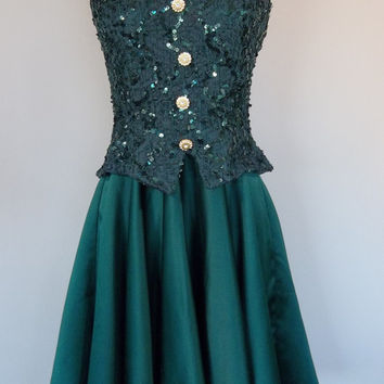 Vintage 80's green satin prom dress with sequins, small