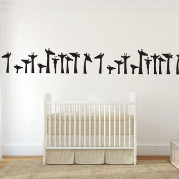 Cute Giraffes Wall Border Decal Sticker Graphic