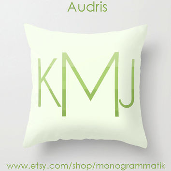"Monogram Personalized Custom ""Audris"" Pillow Cover 16x 16 Initials Unique Gift for Her Him Girls Boys Couch Bedroom Room Ombre Green Lime"