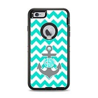 The Teal Green and Gray Monogram Anchor on Teal Chevron Apple iPhone 6 Plus Otterbox Defender Case Skin Set