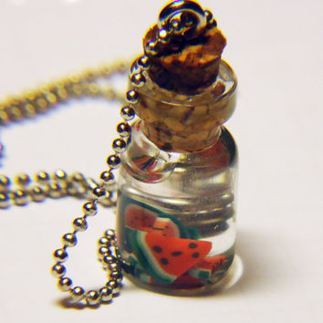 TINY WATERMELONS  glass bottle jewelry by FrozenNote on Etsy