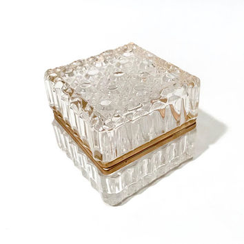 Cut Crystal Trinket Box  Covered Brass Hinged Vanity Box  Jewelry Casket  Coffee Table Decor  Keepsake Box  Vintage Hollywood Regency