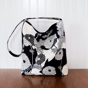 Slouch Purse - Alexander Henry Yoko - Black and White Purse - Fabric Slouch Purse - Fabric Purse - Large Floral Print Purse - Slouch Bag