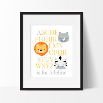 Jungle Room Decor - Jungle Animals - ABC's Print - Nursery Print - Baby Boy or Girl - Animal Nursery Art - Safari Animal Nursery Decor