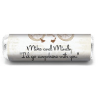 Bicycle Personalized Wedding Mint Rolls for engagements, weddings, showers, and other parties! Candy Favors
