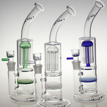 """10.5"""" inches toro bong glass bubbler ouble honey comb 18.8mm joint oil rig water pipe 5mm thick blue toro glass bong"""