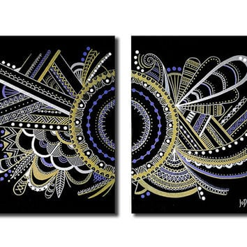 Original abstract painting on canvas. 34x20. Modern black painting with gold, silver and purple. Large painting.