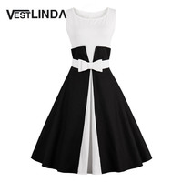 VESTLINDA Color Block Pin Up Vintage Dress Women 2017 Summer O Neck Sleeveless Tank Bow Belt A-Line Midi Dress Vestidos Mujer