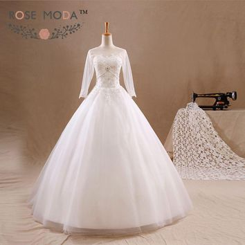 Long Sleeves A Line Wedding Dress Crystal Beaded Lace Appliqued Corset Bridal Gown Vestidos de Noiva Real Photos