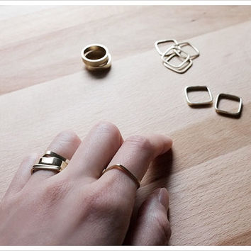 Stacking Ring Mix and Match - Gold Stacking Ring - Stacking Ring Set - Gift For Her - Simple Minimalist Everyday Jewelry LITTIONARY