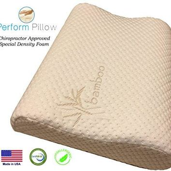Memory Foam Neck Pillow-Double Contour-Chiropractor Approved-Washable Bamboo Cover-LG