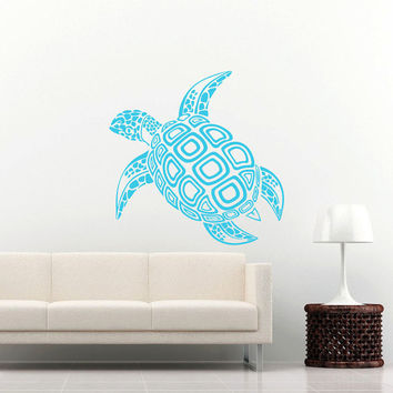 Sea Turtle Wall Decal Ocean Sea Animals Decals Wall Vinyl Sticker Interior Home Decor Family Art Wall Decor Bedroom Bathroom Mural SV5996