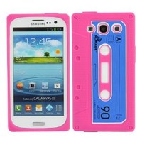 Fosmon Retro Soft Silicone Cassette Case for the Samsung Galaxy S3 III / i9300 (Hot Pink / Blue)