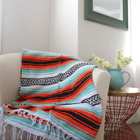 Sea Foam Mint and Orange Tangerine Mexican Beach Blanket Vintage Style