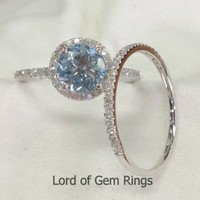 Wedding Ring Sets!Round Cut Aquamarine Diamonds Engagement Ring,14K White Gold