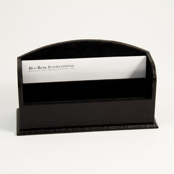 "Letter Rack, Black ""Croco"" Leather"
