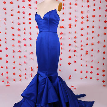 Unique Sweetheart mermaid royal blue satin prom dress with a train,2015 Sexy prom dress,Royal blue formal evening party dresses gowns