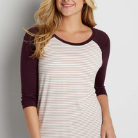 baseball tee with stripes in misty peach combo | maurices