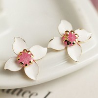 Pink Heart Magnolia Flower Earrings