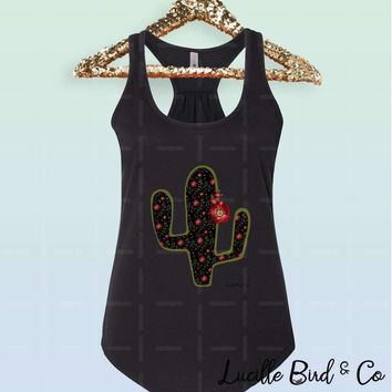Cactus with Faux-Embroidery Women's Racerback Tank