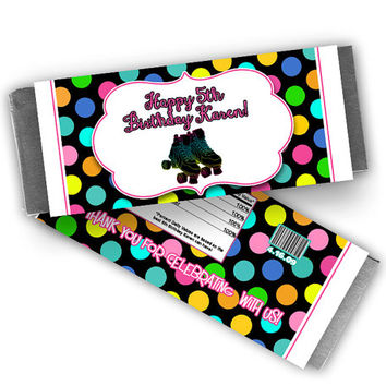 Skating Party Favors - Glow Neon Skate Candy Bar Wrapper - Girls Roller Skating Birthday Party - Polka Dots - Pink - Candy Wrappers - Fast