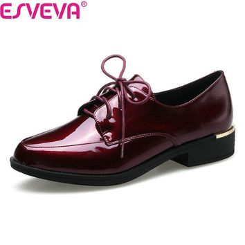 ESVEVA 2018 Women Pumps British Style Lace Up Square Low Heel Casual Shoes Round Toe