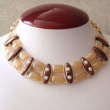 Glass Choker Necklace Western Germany Iridescent Yellow Copper Vintage